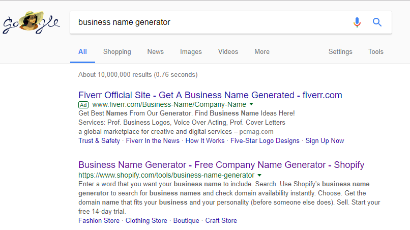 "Screenshot showing search results for ""business name generator"", which includes shopify as the top result"