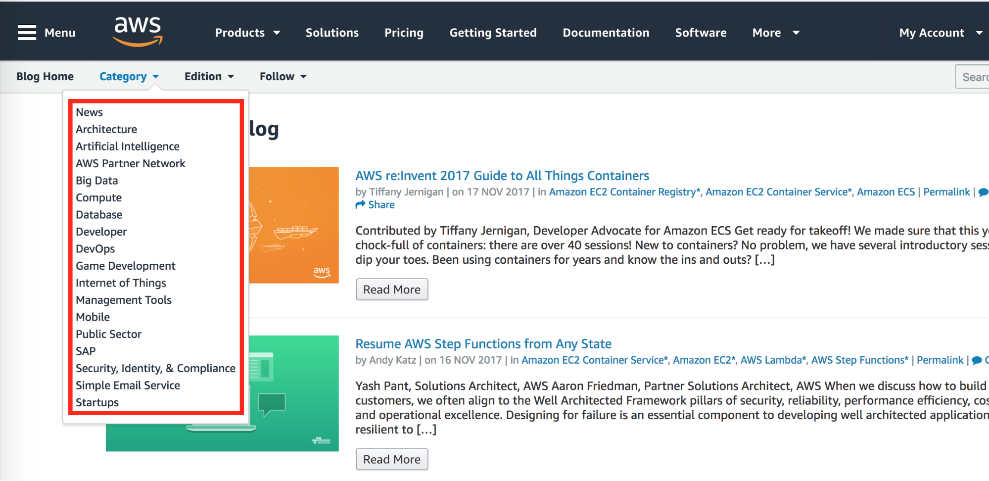 Screenshot showing categories on aws