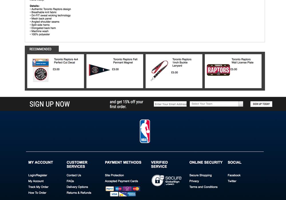 Screenshot showing the NBA store