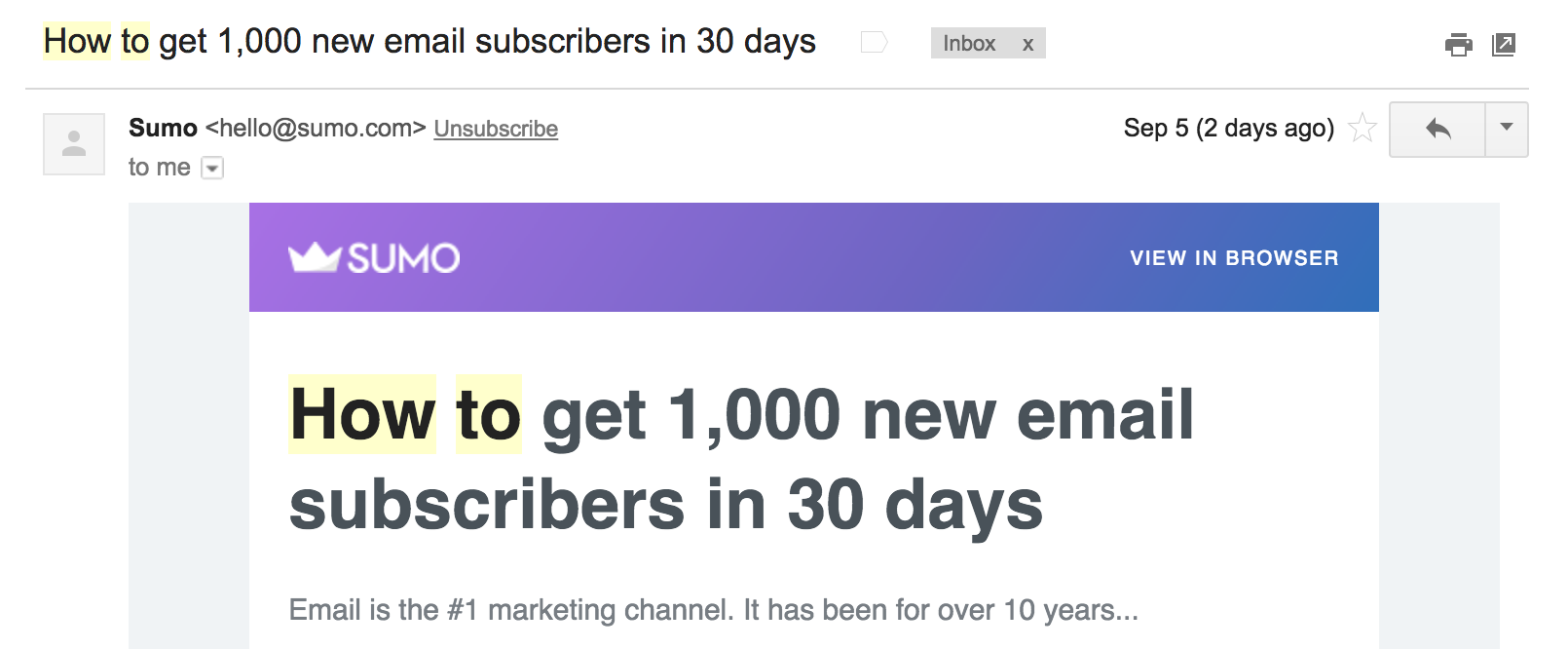Sumo 1000 subscribers email subject example
