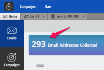 Screenshot showing how many emails Sumo helped collect