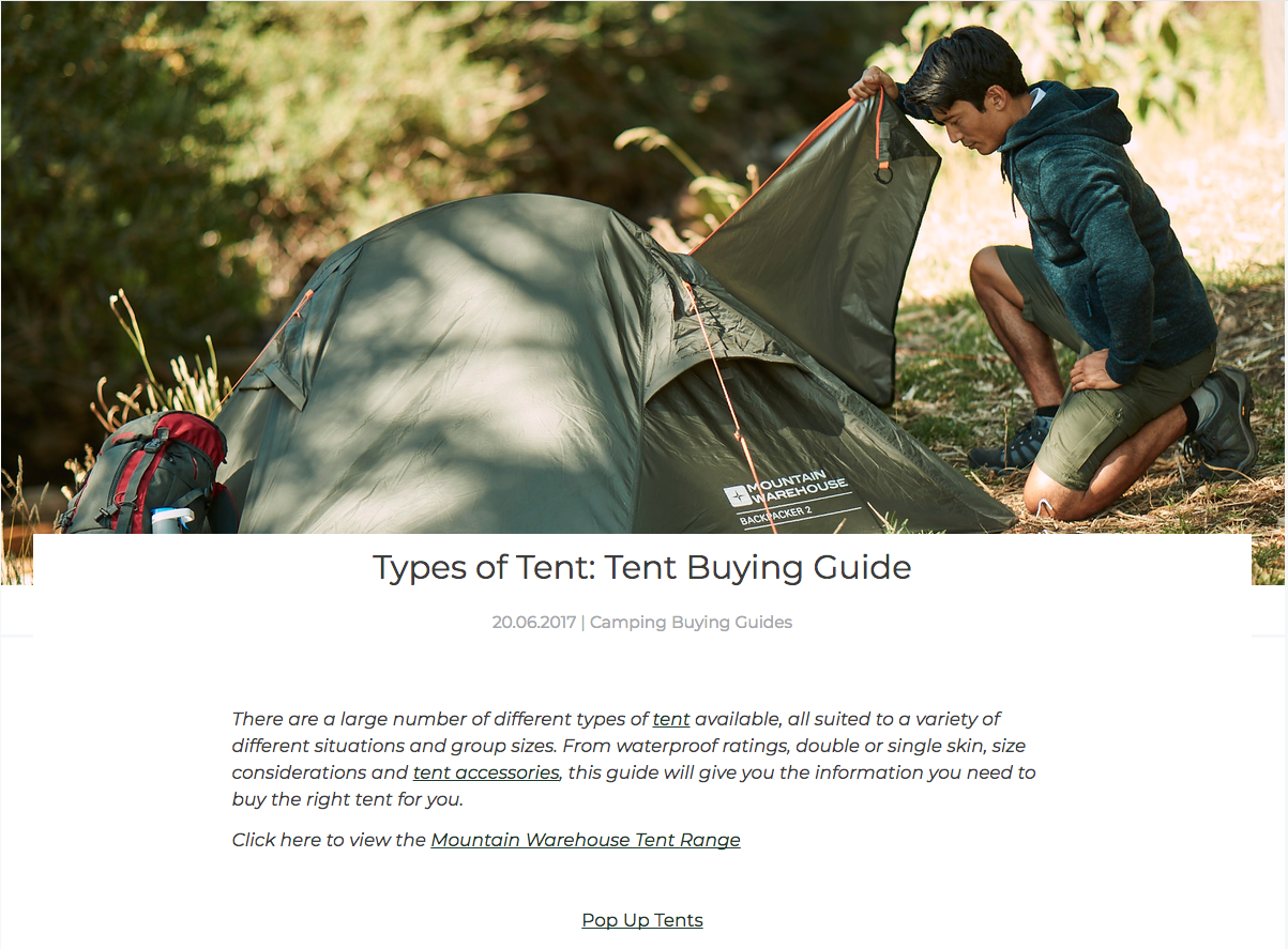 Screenshot showing content about buying a tent