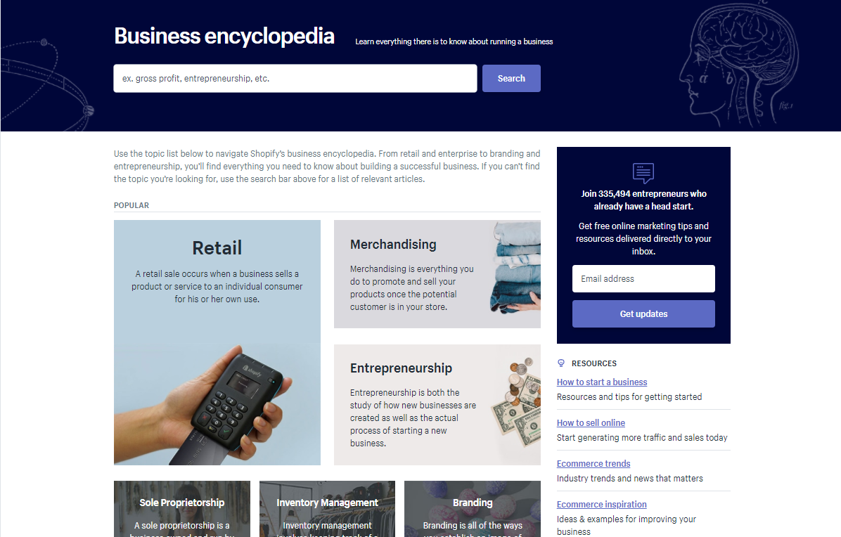 "Screenshot showing the ""business encyclopedia"" on shopify"