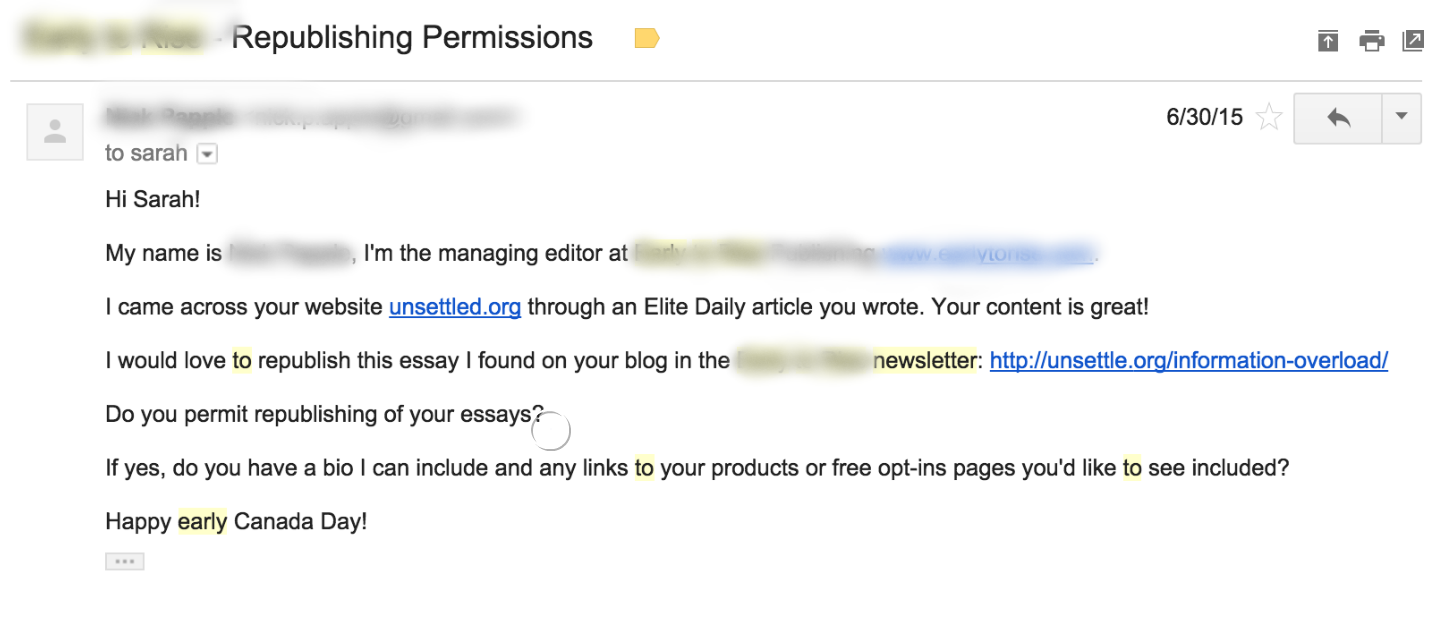 Screenshot of an email sent by a company asking to republish some content