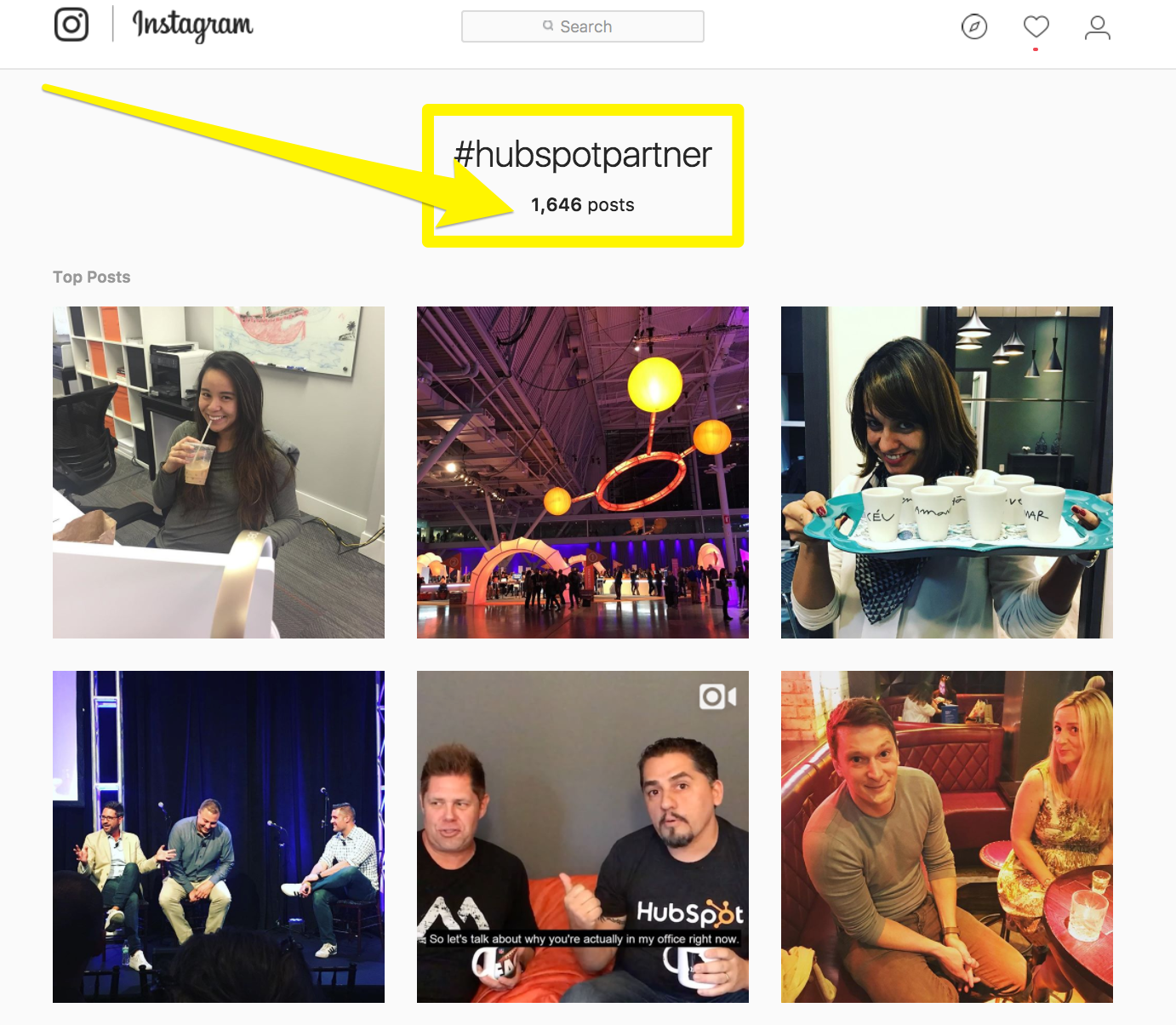 Screenshot showing instagram results for #hubspotpartner