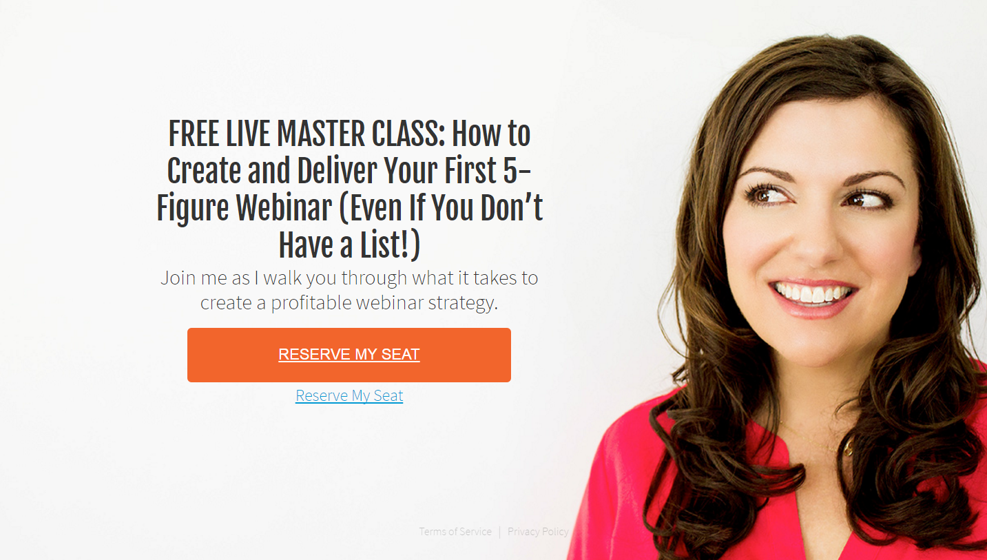 Amy Porterfield using power words on their webinar popup