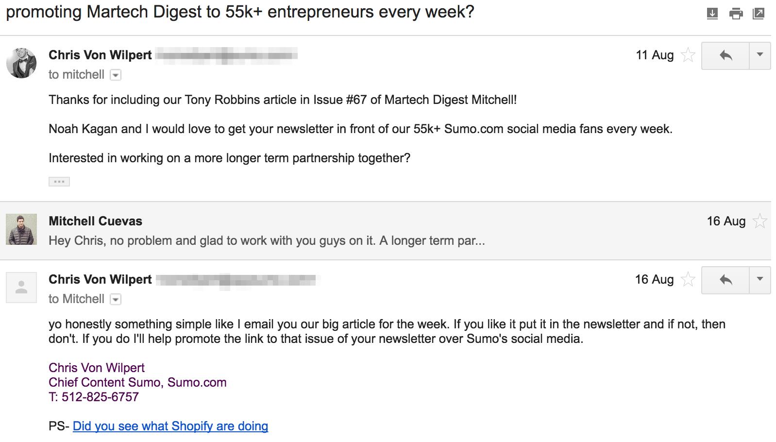 Screenshot showing an email conversation