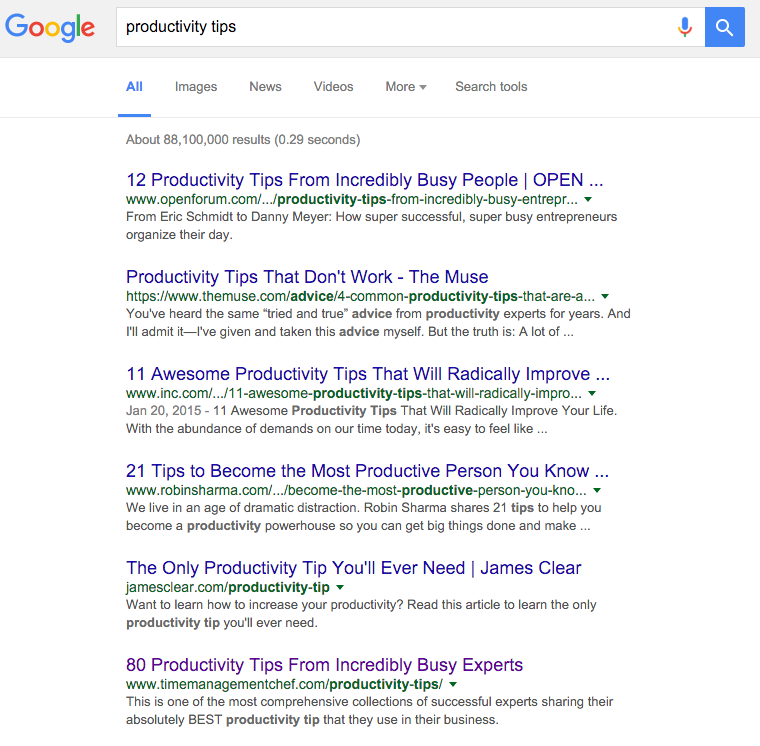 productivity tips google ranking