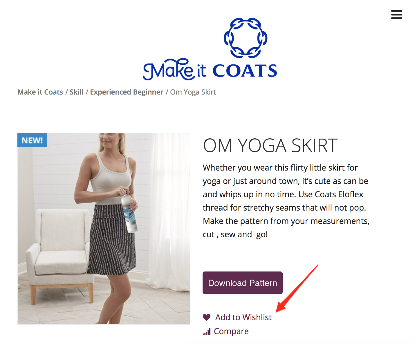 Screenshot showing a product page for a skirt