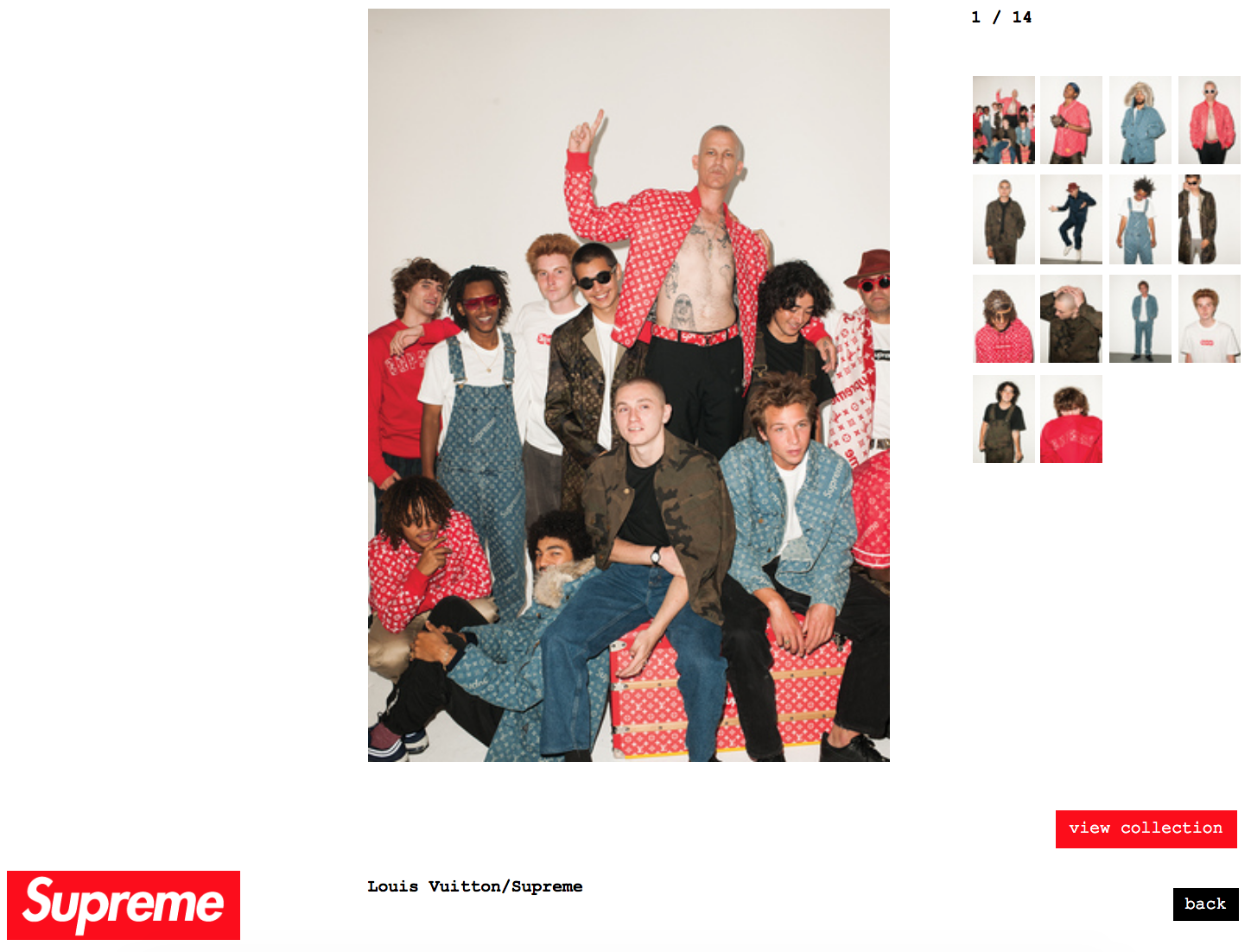 Screenshot of a page on Supreme