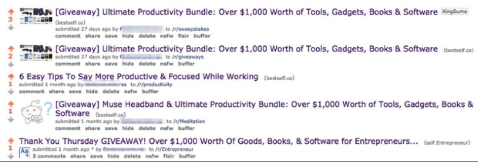 Screenshot showing reddit posts