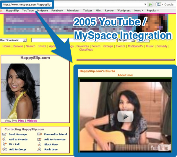 Screenshot showing a very old myspace page