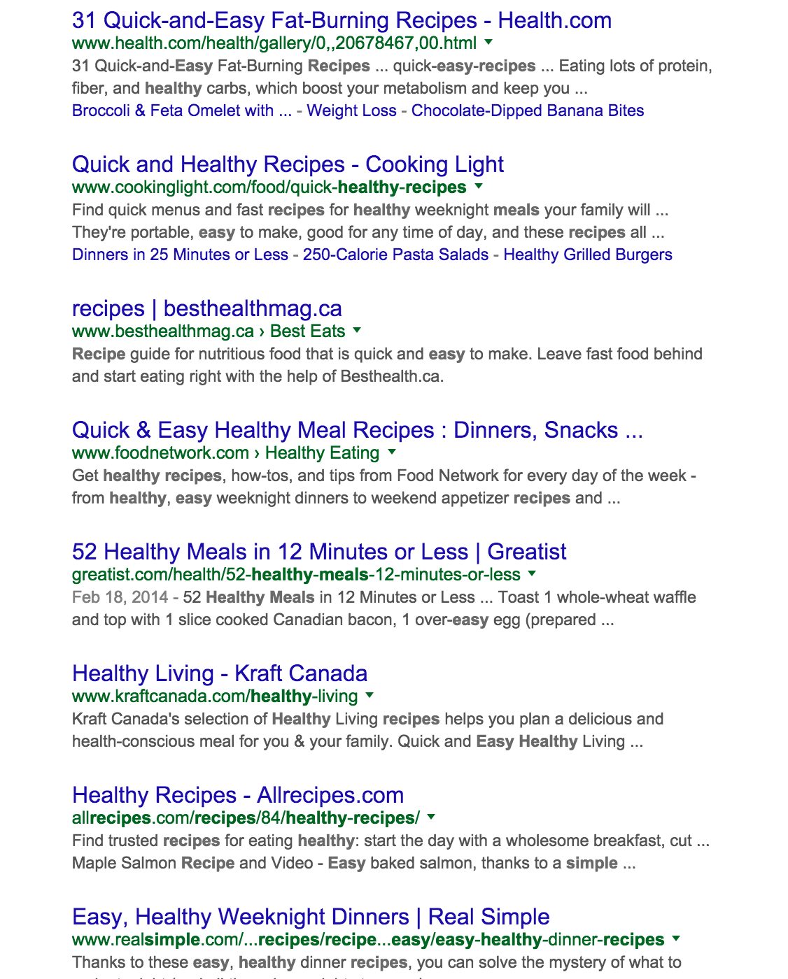 Screenshot showing the headlines on a google search result