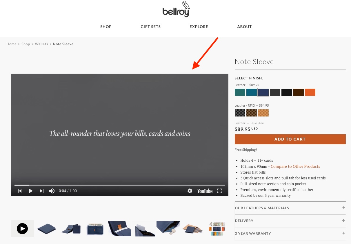 Screenshot showing a product page with a video