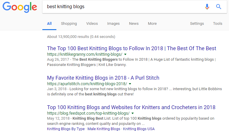 """Screenshot showing google search results for """"best knitting blogs"""""""