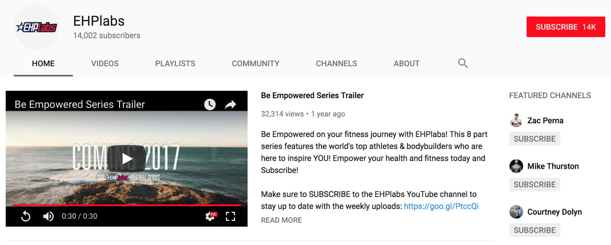 Screenshot showing a Youtube profile