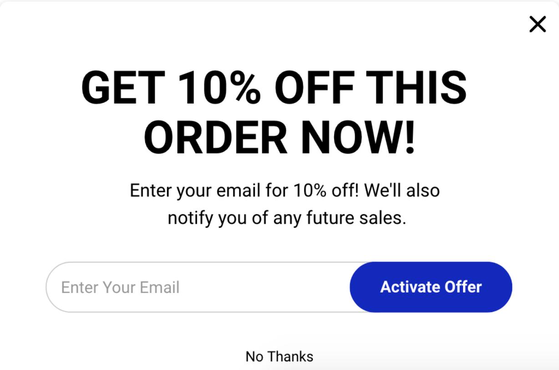 Screenshot showing a discount popup