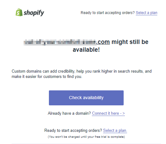 Screenshot showing how Spotify tells users that a certain domain might still be available