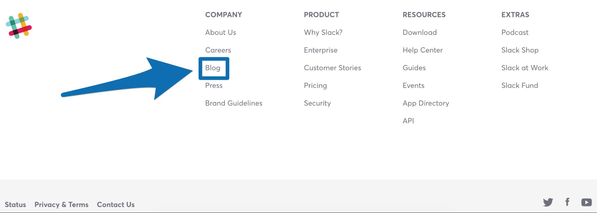 Screenshot showing a link to the Slack blog