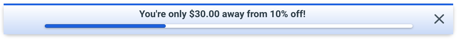 Screenshot showing a top bar offering a discount