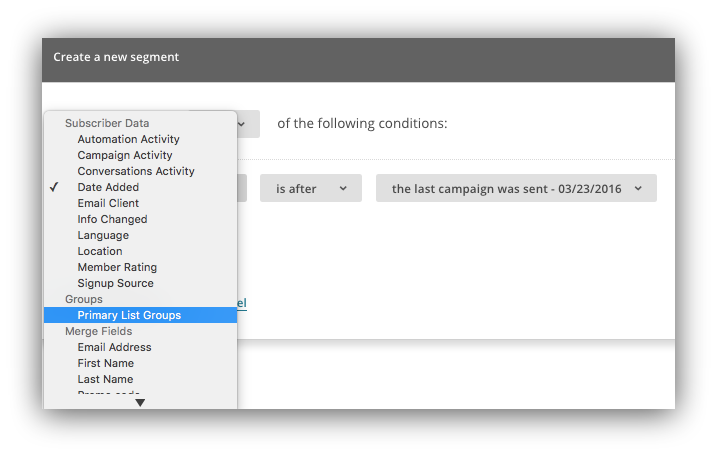 Screenshot of the create a new segment option on the mailchimp dashboard