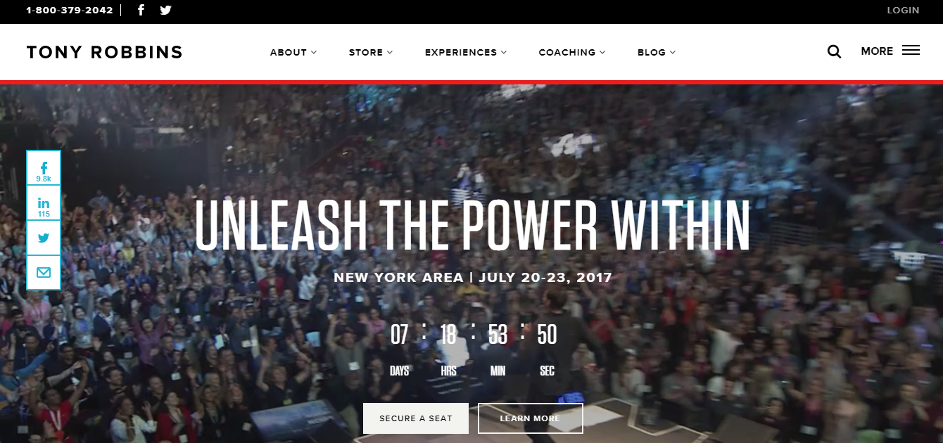 Screenshot of a Tony Robbins landing page