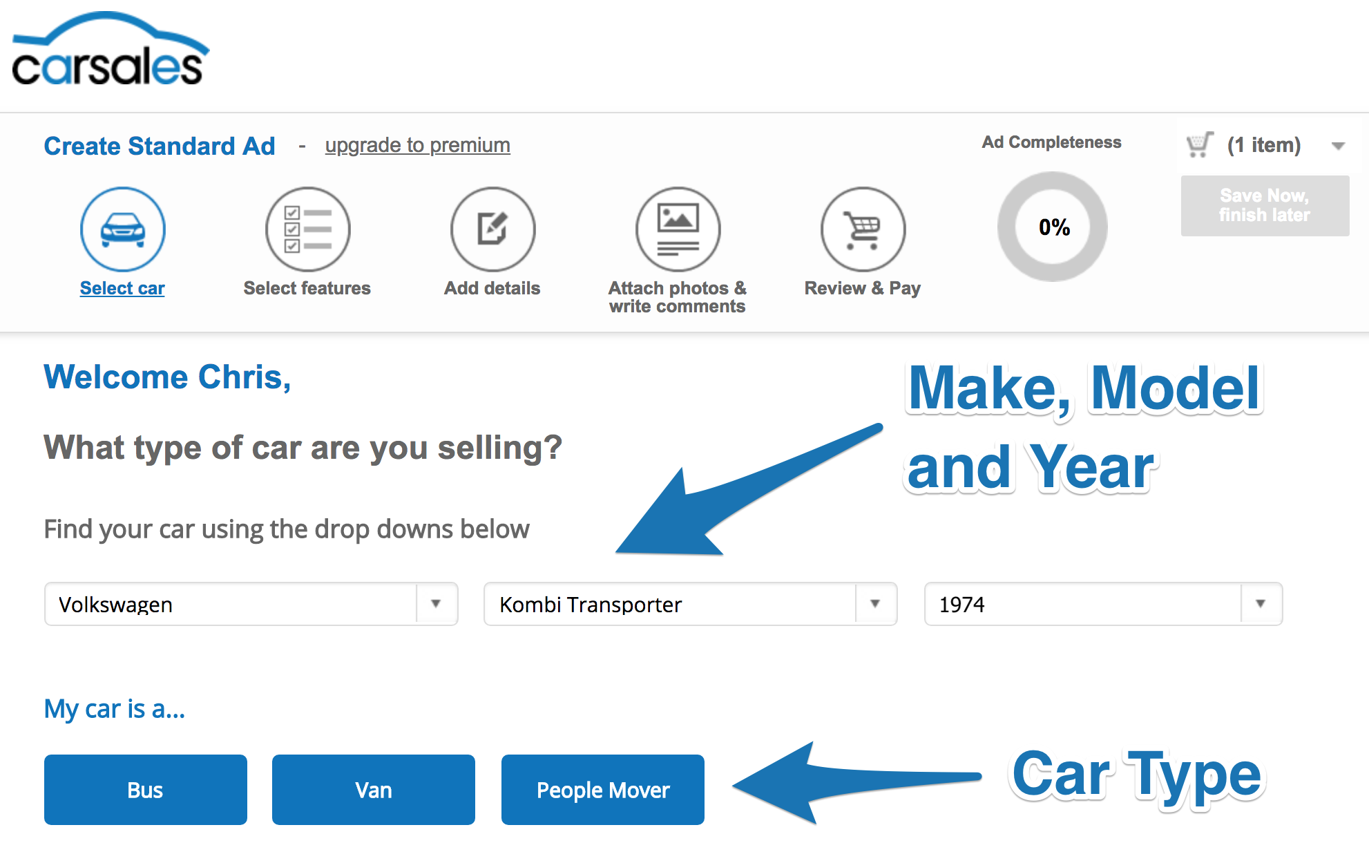 Screenshot showing a page on carsales
