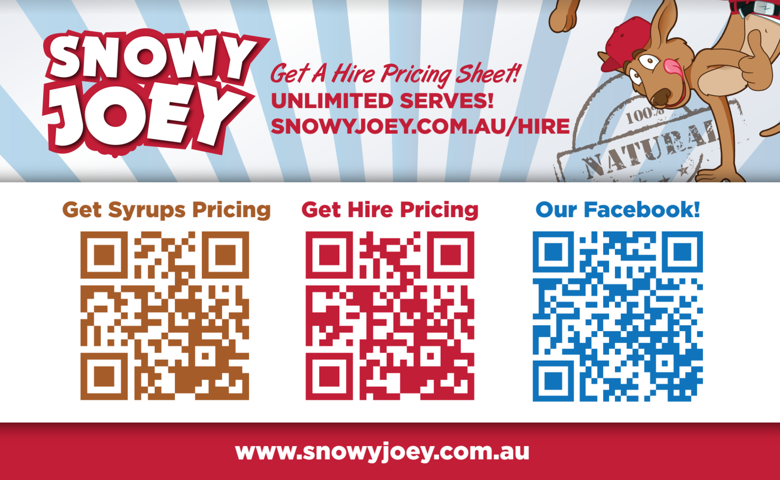 Screenshot showing a Snowy Joey flyer with QR codes to different links