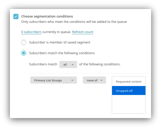 Screenshot showing how you can choose segmentation conditions on Mailchimp
