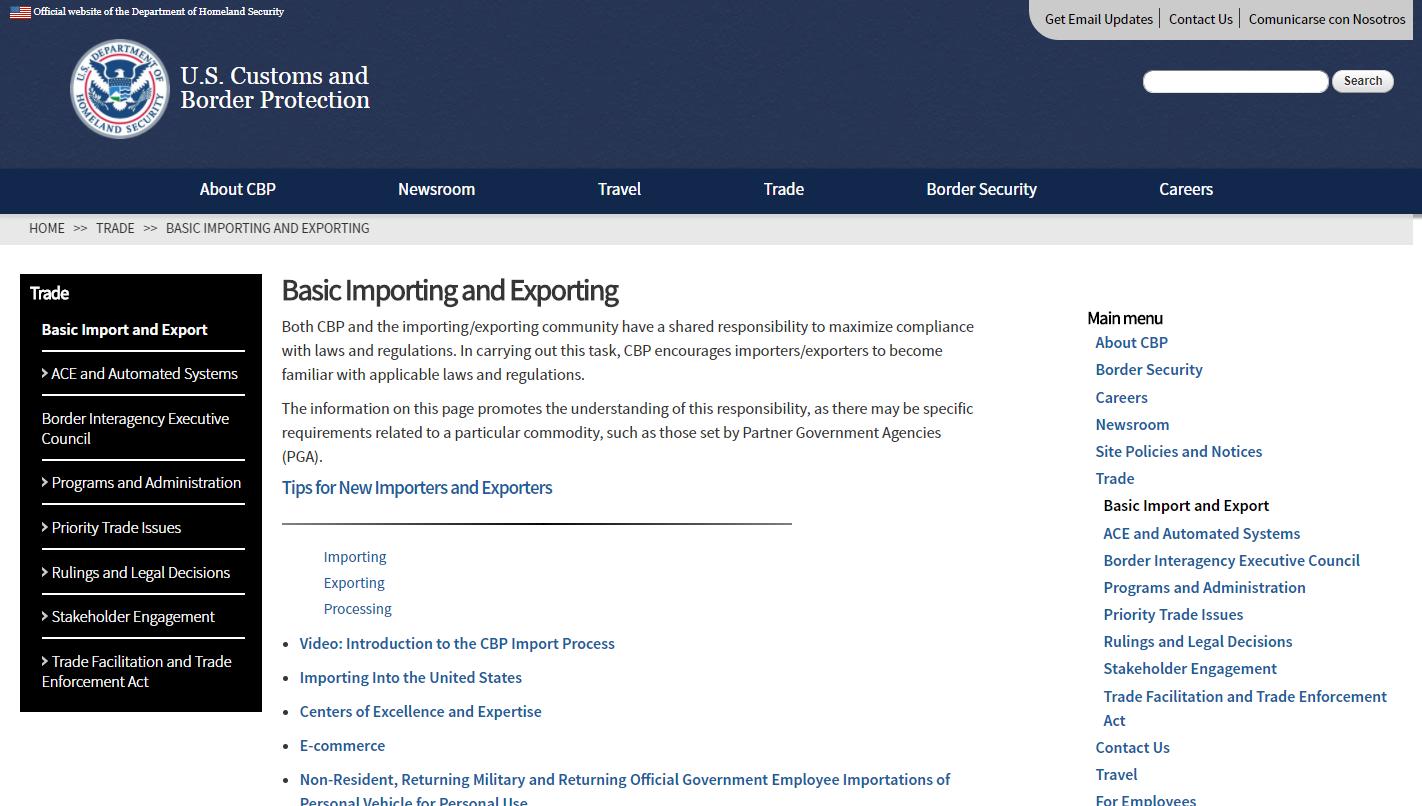Screenshot showing USCBP page