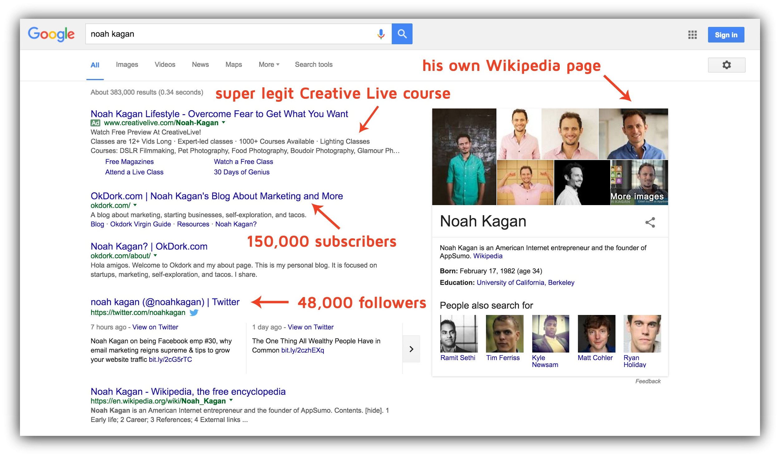 Screenshot of a google search for Noah Kagan