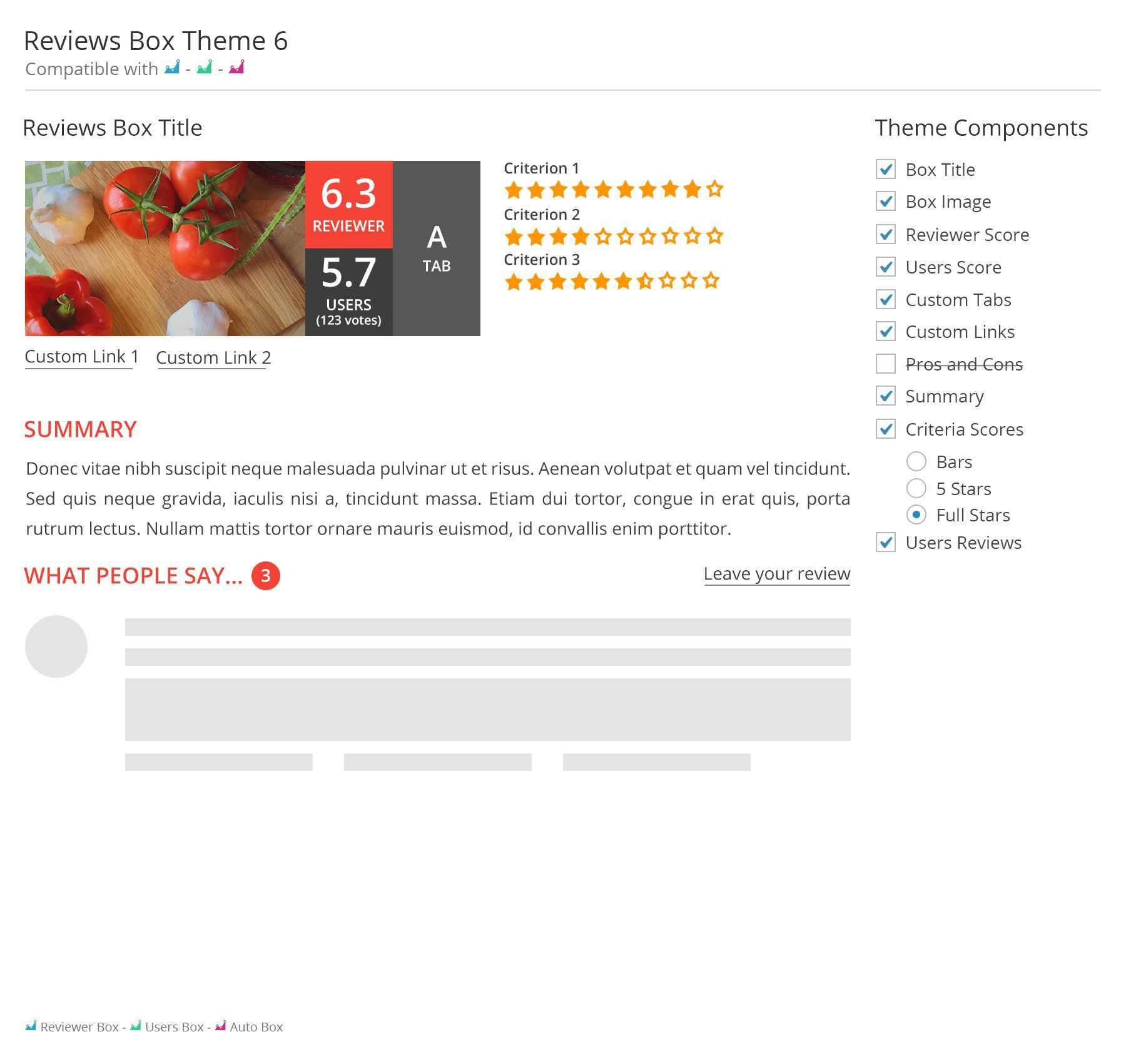 Screenshot showing a review for a theme