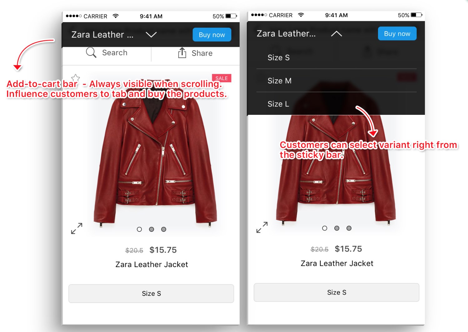 Screenshot showing a sticky bar on an ecommerce store