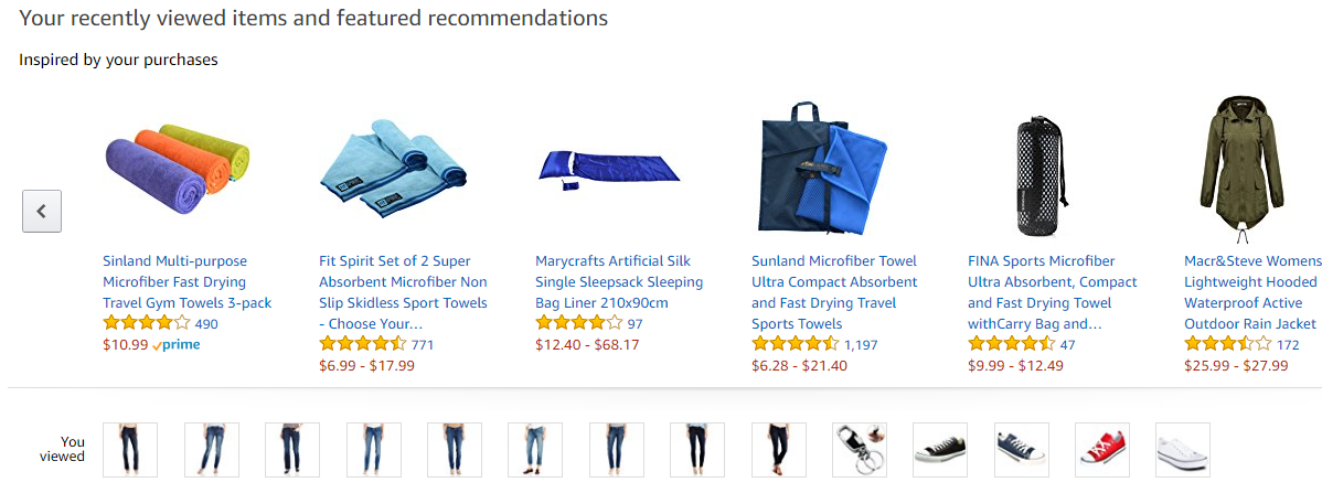 Screenshot showing recommended items on amazon