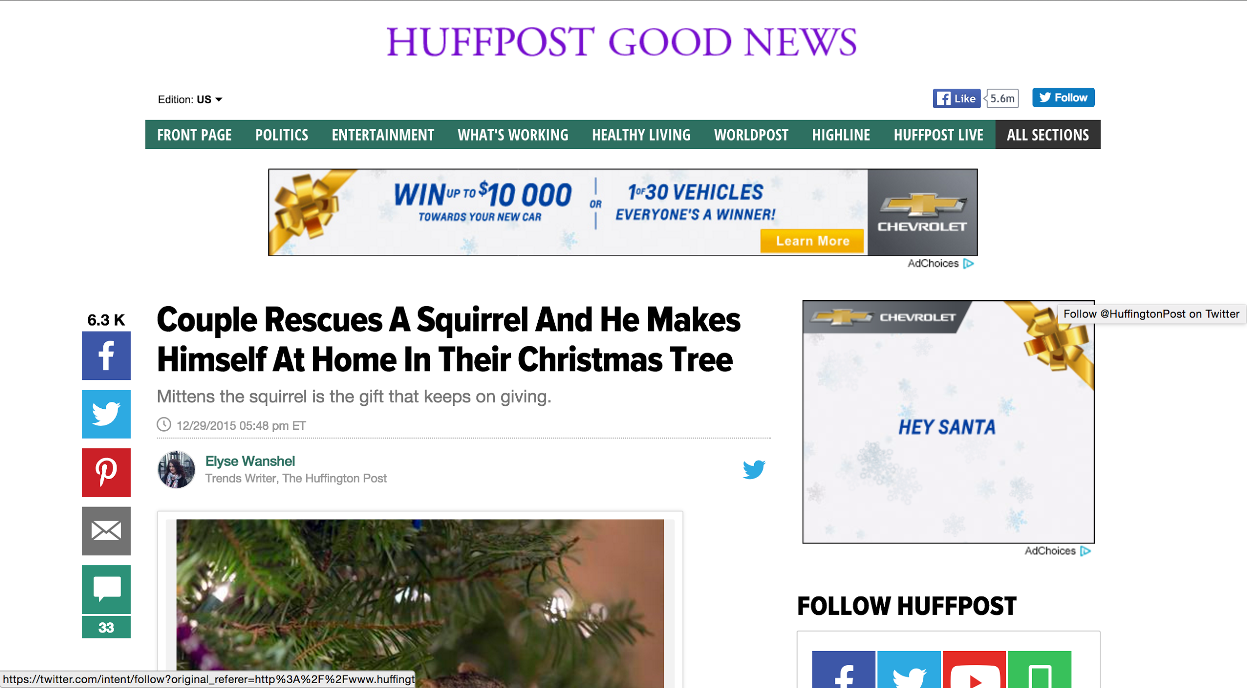 Screenshot showing the headline on a content piece by Huffpost Good News