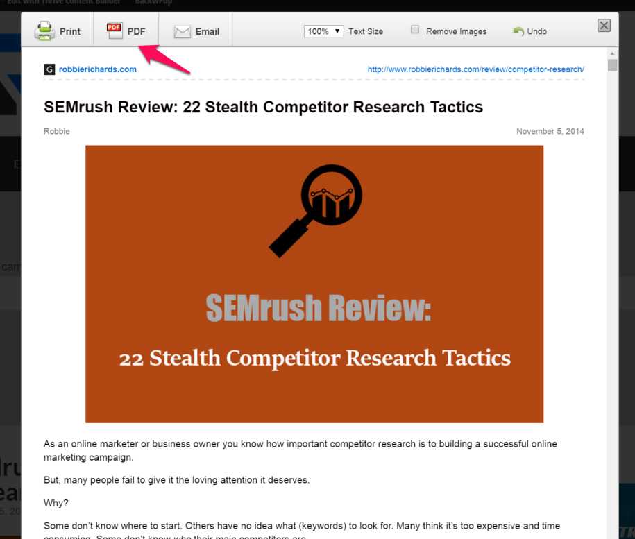 Screenshot showing an email about SEMrush, and a PDF button on top