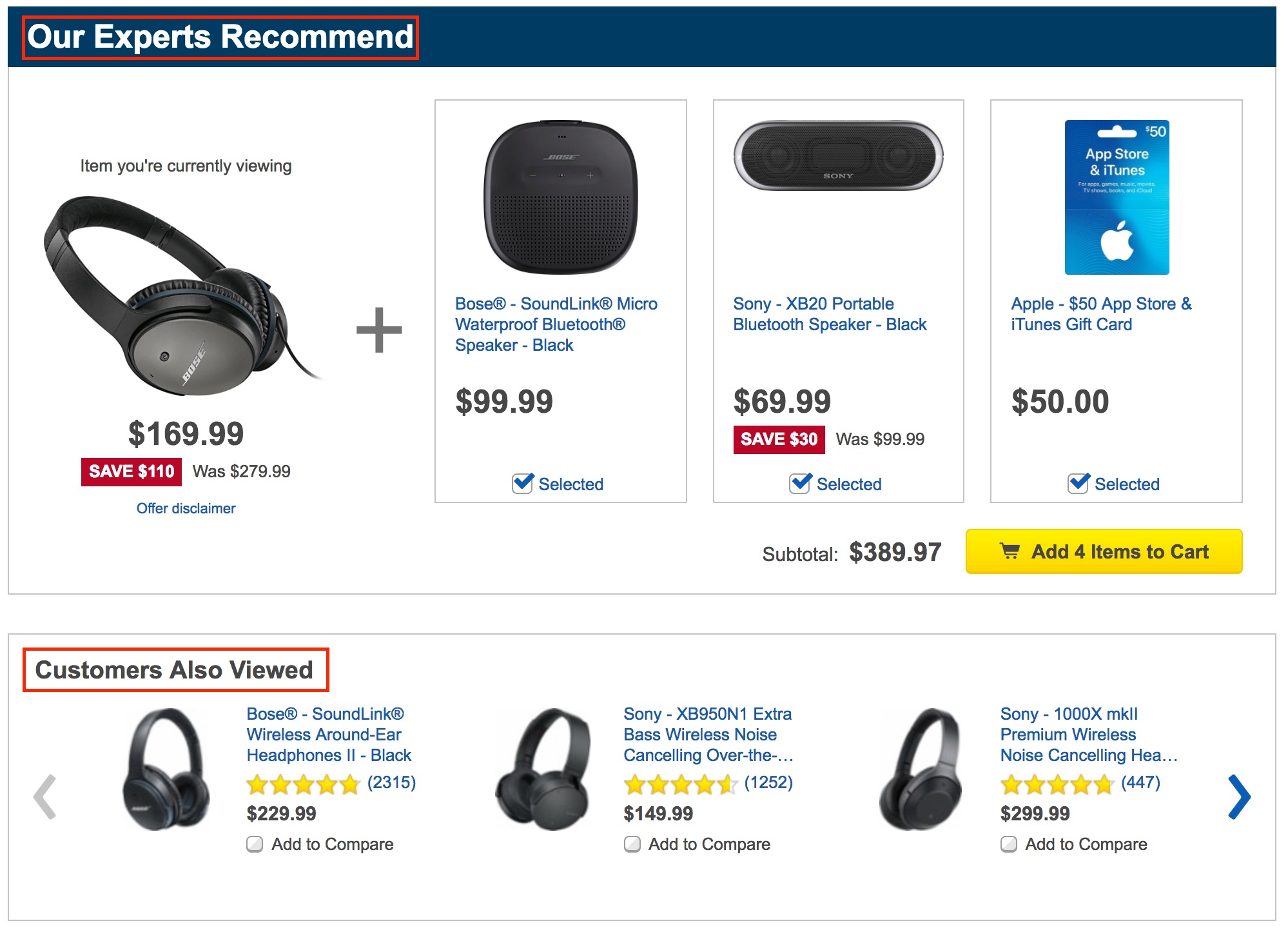 Screenshot showing recommended products