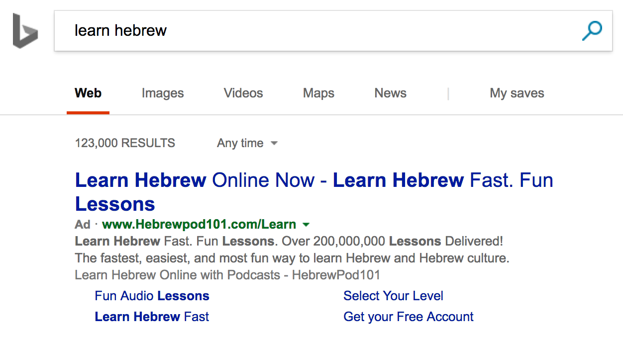 "Screenshot of a bing search for ""learn hebrew"""