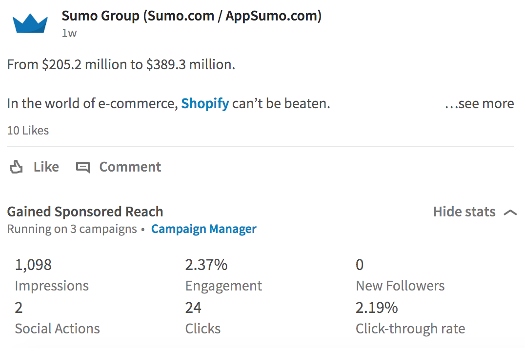 Screenshot showing a linkedin post by Sumo