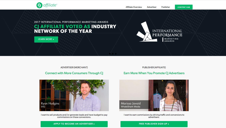 Screenshot showing an affiliate site
