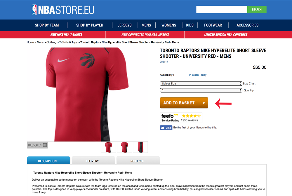 """Screenshot of the EU NBA store, with their """"add to basket"""" button highlighted"""