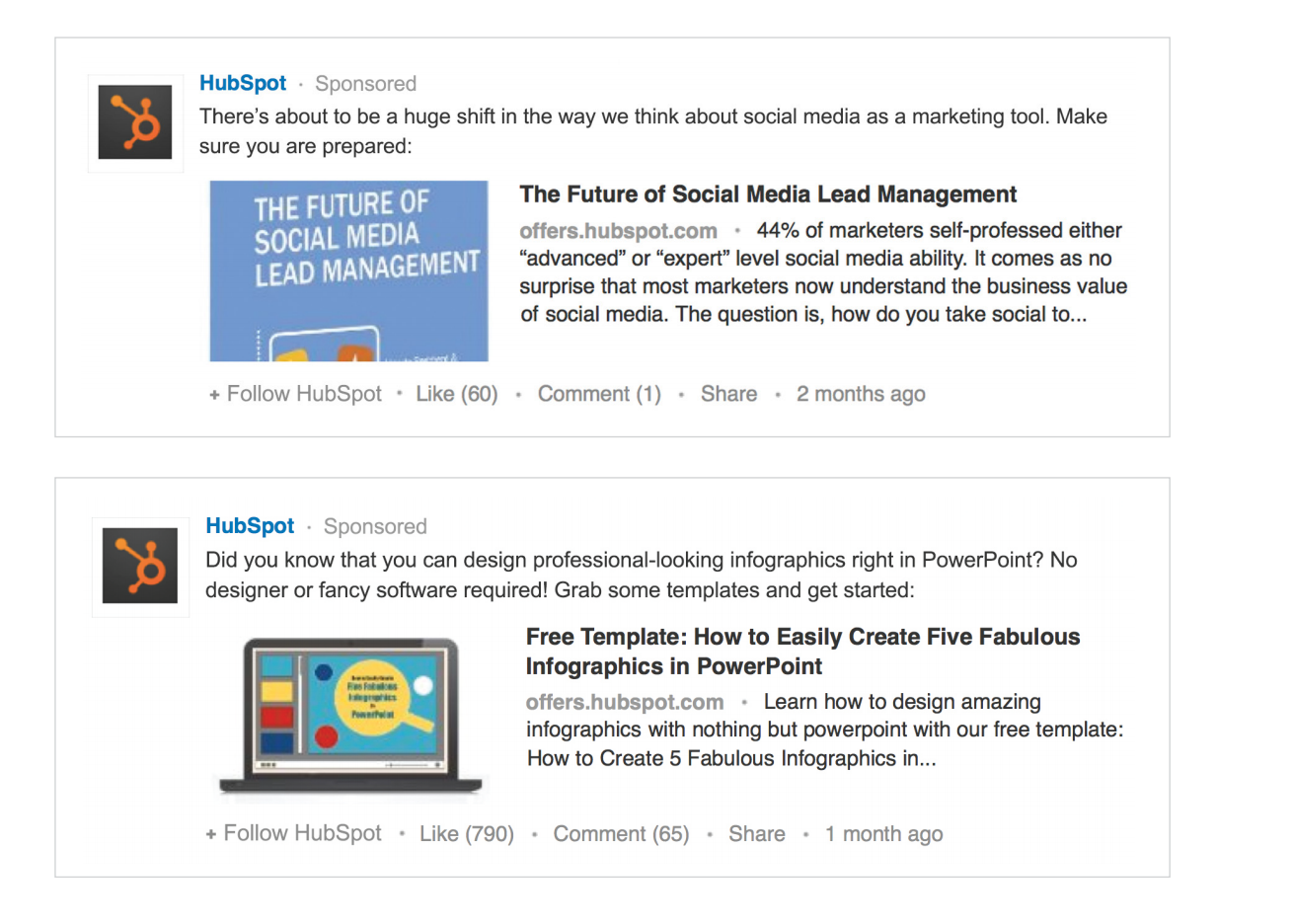 Screenshot showing different ads by hubspot