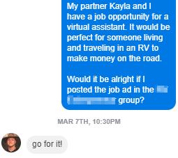 Screenshot showing a FB Messenger conversation