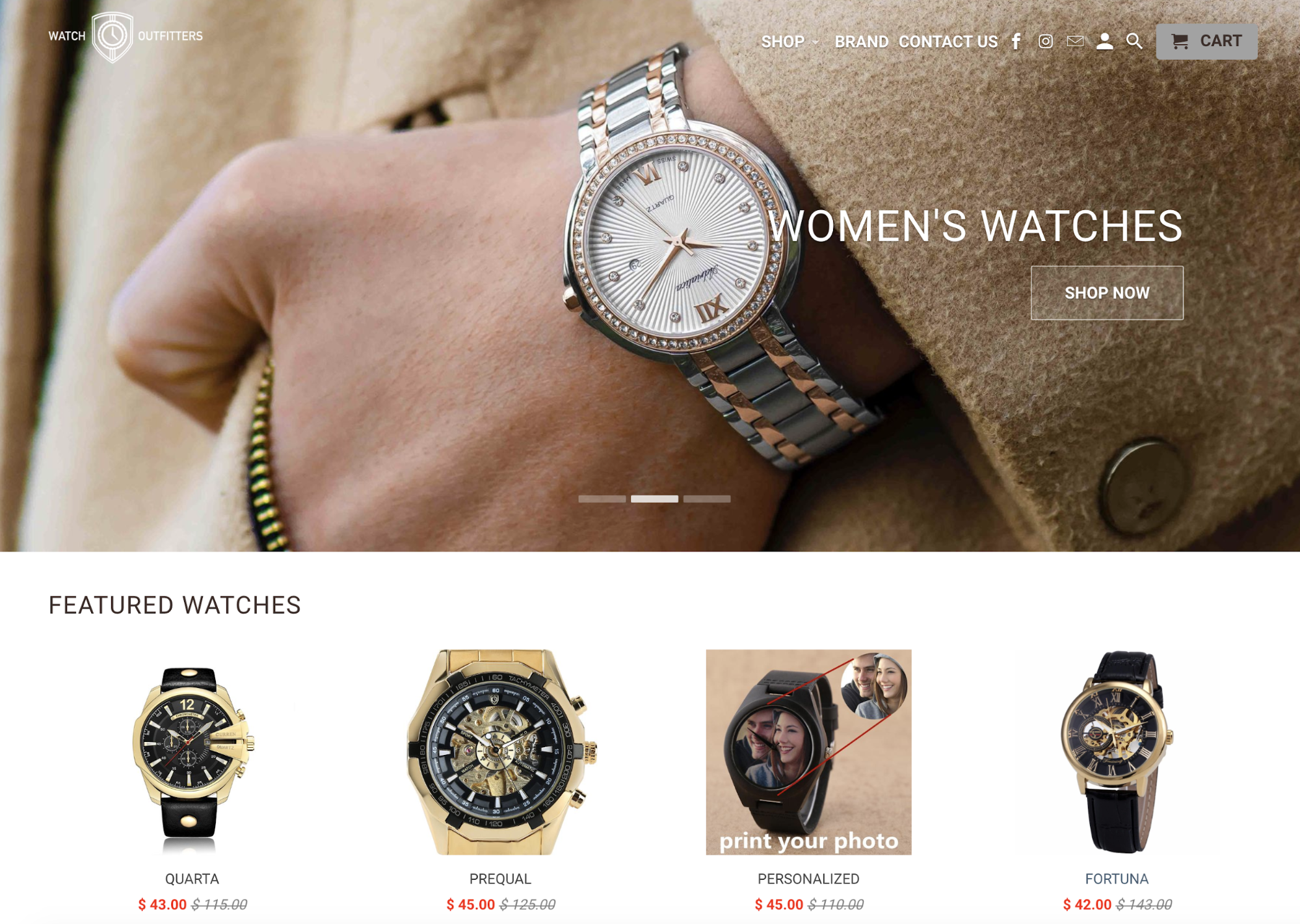Screenshot showing a store that sells women