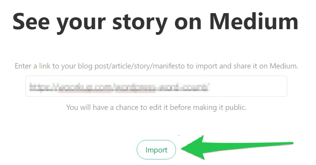 Screenshot showing how to import your content to medium