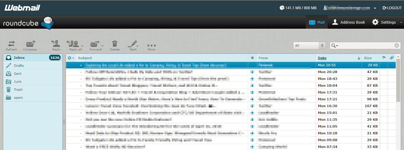 Screenshot showing a webmail browser inbox