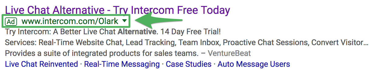 Screenshot showing a google ad by intercom