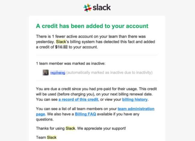 Screenshot of a billing page on Slack