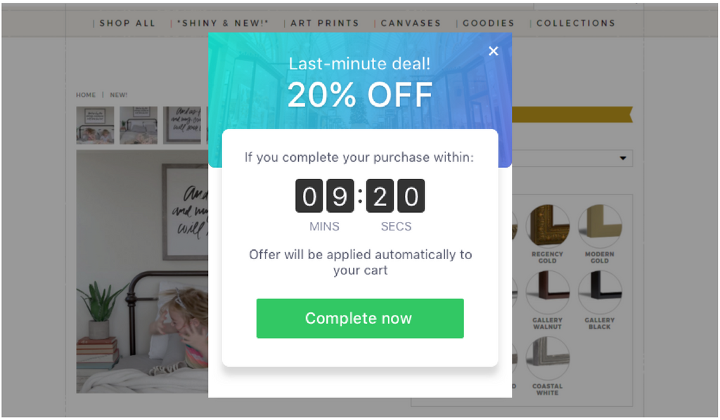 Screenshot showing a last minute deal popup