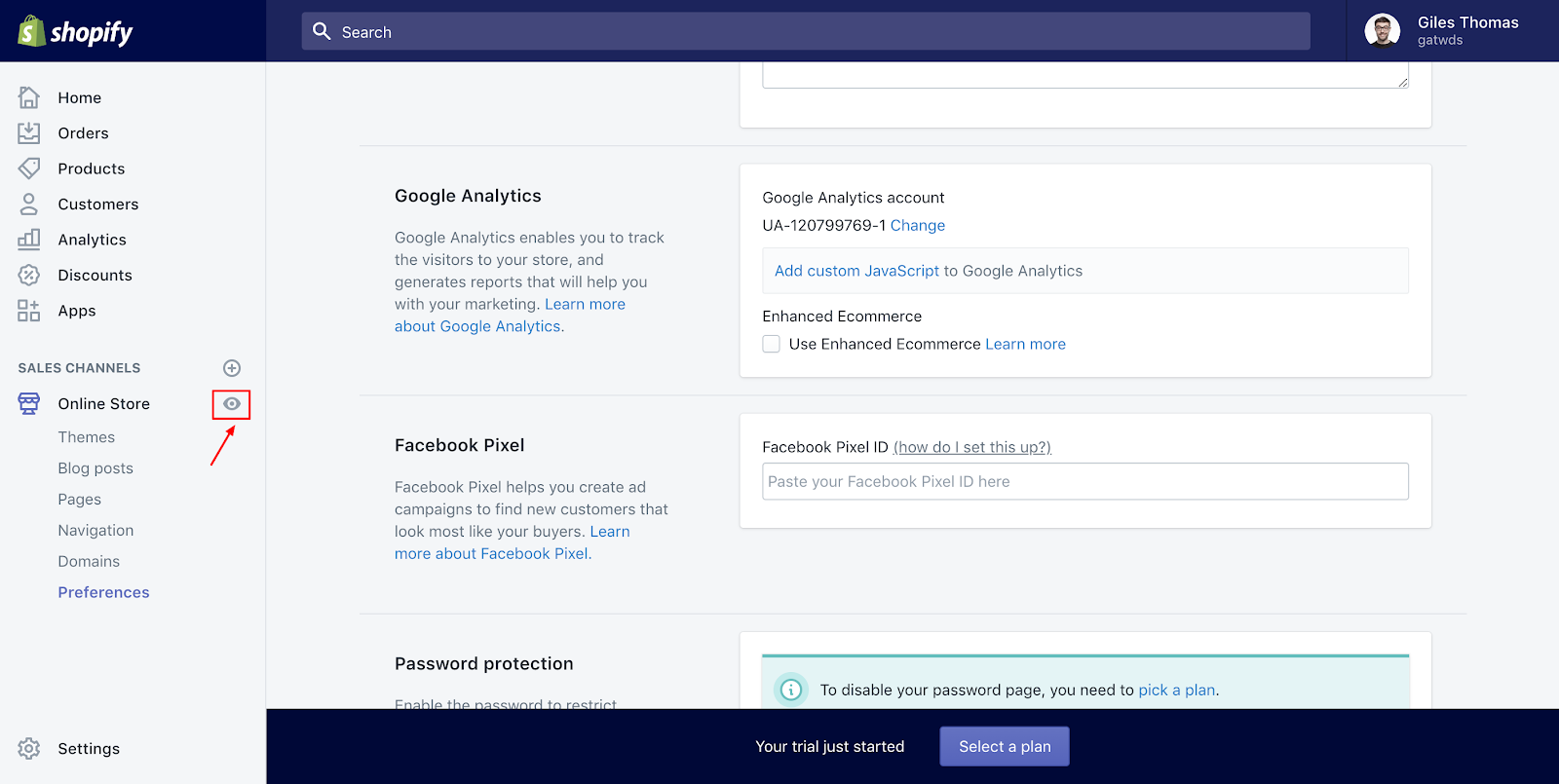 Screenshot showing a settings page on the Shopify dashboard